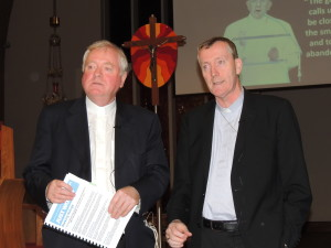Msgr Byrne and Bishop Nulty at Portlaoise parish meeting on refugees