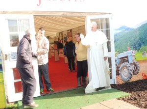 Life-size cardboard cut-out of Pope Francis at the Jesuit tent, attracted many for 'selfies'.