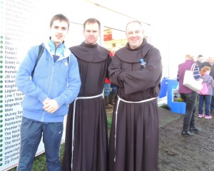 Matthew Roche from Co Galway, with Ronan Sharpley and Damian Casey of the Franciscan Friary Athlone
