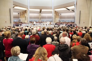26/27 SEPT 2015 NATIONAL EUCHARISTIC CONGRESS 2015 IN KNOCK. Irish Catholic Bishops Conference is hosting the conference which will be a celebration of Faith over two days including prayer, daily celebration of Eucharist. Pic shows A full Basilica in Knock on Sunday afternoon for the final mass for National Eucharistic Congress. Pic John Mc Elroy. NO REPRO FEE.