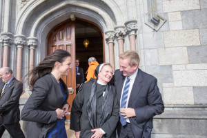 28/09/2015 An Taoiseach Enda Kenny with Lisa Caulfield Director, Notre Dame Academic Center at Kylemore Abbey and Sister Magdalena at Kylemore Abbey, Co. Galway where he launched the University of Notre Dame Education Centre. Photo : Keith Heneghan / Phocus