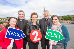 Photographed at the official launch of the National Eucharistic Congress, scheduled to take place at Knock Shrine, Co Mayo, on September 26 and 27, were, from left: Sheena Darcy, Coordinator of Planning NEC2015; Fr Richard Gibbons, PP and Rector at Knock Shrine; Patricia McCarthy, prayer guide at Knock Shrine; Most Rev Kevin Doran, Bishop of Elphin and National Delegate for Eucharistic Congresses; and Una Nolan, music director at Knock Shrine. Photo : Keith Heneghan / Phocus