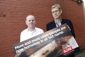 Pictured at the launch of the ALONE ''homeless in all but name'' campaign were CEO of ALONE Sean Moynihan and ALONE resident Brendan. Photo: Jason Clarke