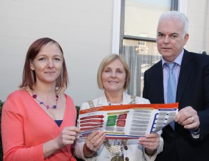 Pic shows Lord Mayor Criona Ni Dhalaigh with Ciara Mc Grath project leader Crosscare housing and welfare information service and Greg Tierney senior manager for youth services in Crosscare with a copy of the new leaflet. Pic John Mc Elroy.