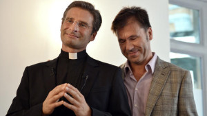 Fr Krysztof Olaf Charamsa (L) who works for the CDF gives a press conference with his partner Edouard to reveal his homosexuality on October 3, 2015 in Rome. Photo TIZIANA FABI/AFP/Getty Images)