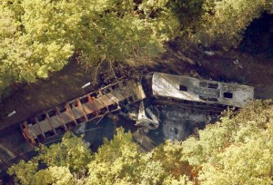 Aerial view of the site where a coach carrying members of an elderly people's club collided with a truck (L) outside Puisseguin near Bordeaux in France. Photo courtesy: REUTERS/Regis Duvignau