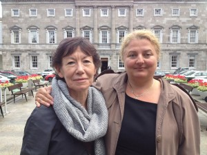 At Leinster House Researcher Monica O'Connor with Nusha Yonkova of the Immigrant Council of Ireland