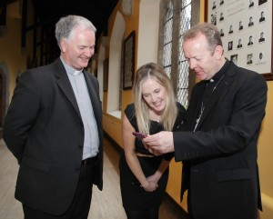 Pic shows speakers at the conference (l-r) Monsignor Paul Tighe Secretary of the Pontifical Council for Social Communications, Broadcaster Audrey Carville and Archbishop Eamon Martin Archbishop of Armagh and Primate of all Ireland looking at the new website of Intercom Magazine Pic John Mc Elroy.