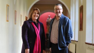 Caroline Donohoe and Fr Michael Cusack CSsR. Pic courtesy: RTE.ie