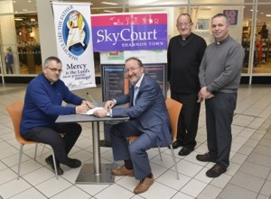Fr Tom Ryan (left), pictured with Skycourt manager Pat Kelly, Canon Brendan O'Donoghue and Fr Arnold Rosney.