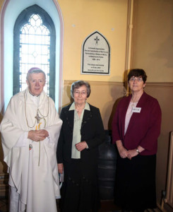 Unveiling & Blessing of Commemorative Plaque. L-R: Archbishop Neary, Sr Rosario Waldron, Sr Caitl'n Conneely (Provincial)