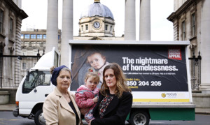 Pictured at Government Buildings in Dublin with Focus Ireland Family Team Manager Roisin McDonnell and her daughter Féile, age 3 from Wicklow. Pic Robbie Reynolds