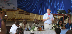 Prof Piot addressing Sierra Leone's AIDS community on Ebola in Dec 2014. Credit: Heidi Larson