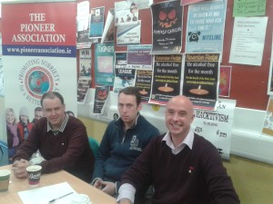 Thomas Small (President of Maynooth Pioneer Centre), Bede Nolan and Raymond O'Connor (Central Office)