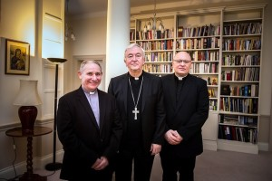 Canon Paul McAleenan (l) with Cardinal Vincent Nichols and Mgr John Wilson.