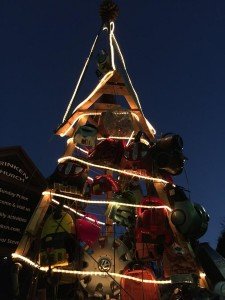 Ding dong verily the sky... Christmas tree made of recycled goods and vacuums.