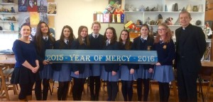 Fifth Year Art and Religion Students from Mercy Secondary School, Tuam, pictured with teacher Lisa Conboy and Fr. Pat Farragher