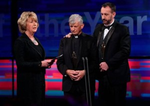 Dr Mary McAleese with Fr Brendan McBride and Consul General Philip Grant who were jointly awarded International Person of the Year at Rehab Ireland People of the Year 2015 awards ceremony. Pic courtesy: Independent.ie