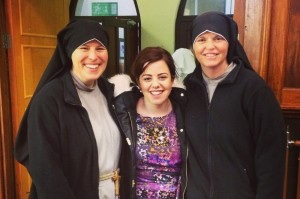 Sr Jacinta and Sr Monica, Franciscan Sisters of the Renewal with Maura Garrihy (centre)