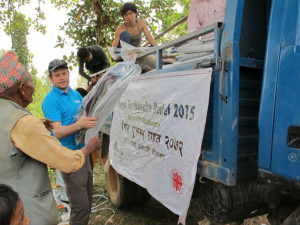 Trócaire's Conor O'Loughlin helping the reflief efforts in Nepal after the devastating earthquake in April.