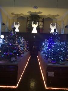 Inside St James Church, Crinken - the Christmas Tree Festival