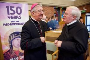 Archbishop Diarmuid Martin speaks to Redemptorist provincial Fr Dan Baragry, CSsR. Photo: Paul Sherwood.