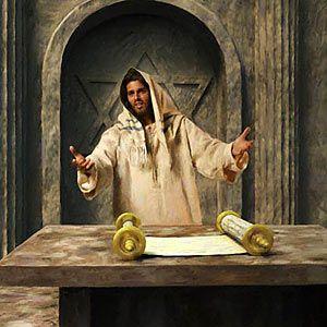 Jesus reads in public