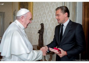 Leonardo di Caprio meets Pope Francis. © AFP