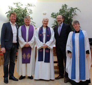 Philip McKinley, Fr Séamus McEntee, Archbishop Michael Jackson, Professor Brian MacCraith and Dr Anne Lodge. Pic courtesy: Lynn Glanville