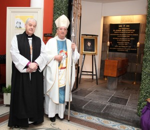 Pic shows Church of Ireland Archbishop of Dublin Dr Michael Jackson and Catholic Archbishop of Dublin Dr Diarmuid Martin at the tomb of Venerable Fr John Sullivan SJ after Mass in St Francis Xavier Church Gardiner St on Saturday. Pic John Mc Elroy.
