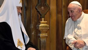 Pope Francis meets with Russian Orthodox Patriarch Kirill in Havana. Pic courtesy AFP