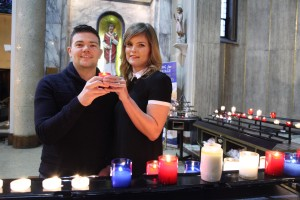 Engaged couple Deirdre Eighan and Sean Whelan at the shrine of St Valentine in the Church of Our Lady of Mount Carmel Whitefriar Street in Dublin having had a blessing from Bishop Denis Nulty Bishop of Kildare and Leighlin. Pic John Mc Elroy.