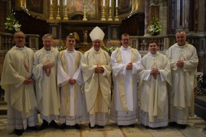 Photo after the ordination shows (left to right): Fr George Hayes (Vice Rector), Fr Thomas Norris (Spiritual Director), Rev Malachy Gallagher (new deacon), Bishop Donal McKeown of Derry, Rev Bill O'Shaughnessy (new deacon), Fr Hugh Clifford (Director of Formation), Mgr Ciarán O'Carroll (Rector).