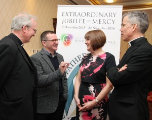 Pic shows L-R Bishop Donal McKeown of Derry, who opened the conference, with speakers Professor Michael Conway (Dept of Faith and Culture St Patrick's College Maynooth) Susan Gately (journalist and author of God's Surprise: The New Movements in the Church) and the Apostolic Nuncio, Archbishop Charles Brown. Pic John Mc Elroy.