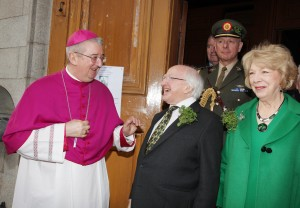 """17.3.2016 ST PATRICK'S DAY MASS IN PRO CATHEDRAL. On St Patrick's Day President Michael D. Higgins and his wife Sabina attended mass in St Mary's Pro Cathedral Dublin. The principal celebrant was Fr Bryan Shortall OFM CAP. Music was provided by 'In Caelo"""" from Newbridge and after the mass Archbishop Diarmuid Martin blessed shamrock. Pic shows Archbishop of Dublin Diarmuid Martin greeting President Michael D. Higgins and his wife Sabina after St Patrick's Day mass in St Mary's Pro Cathedral Dublin. Pic John Mc Elroy. NO REPRO FEE."""