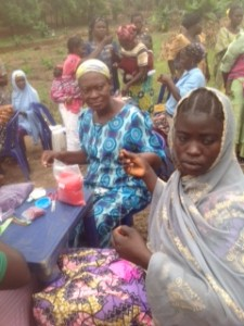 Women of Durumi IDP Camp in Abuja attending the inaugural craft workshop at the Maria Centre.