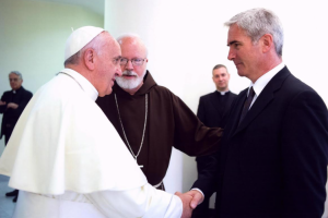 Mark Vincent Healy meets Pope Francis in 2014 and Cardinal Sean O'Malley of Boston.