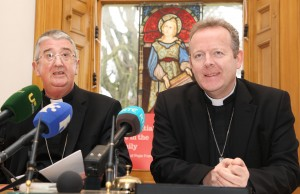 Archbishops Diarmuid Martin of Dublin and Eamon Martin of Armagh at a press conf in Dublin on Friday welcoming the publication of Pope Francis Amoris Laetitia (The Joy of Love: On Love in the Family) Pic John Mc Elroy.
