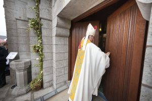 Papal Nuncio Archbishop Charles Brown opened the Holy Door of Mercy at St Patrick's Basilica, Lough Derg, to inaugurate the Jubilee of Mercy Pilgrimage Season 2016. Pic: Michael Mc Laughlin