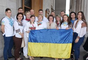 A group from Ukraine fresh from celebrating Ukraine's win in the Eurovision on Saturday at the Festival of Peoples on Sunday. Pic John Mc Elroy.