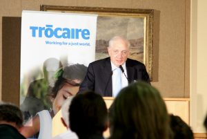Peter Sutherland delivering the annual Trócaire address on the theme 'Migration – The Moral Challenge of Our Time'. Pic courtesy of Trócaire.