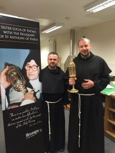Fr Valentino and Fr Lucian with one of the relics of St Anthony.