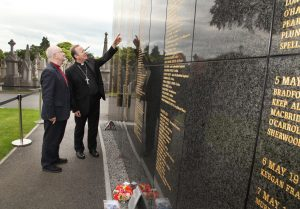 Church of Ireland Archbishop of Armagh Richard Clarke and Roman Catholic Archbishop of Armagh Eamon Martin looking at the Memorial Wall in Glasnevin Cemetery ahead of setting out with thirty pilgrims on the Somme Centenary Pilgrimage. Pic John Mc Elroy.