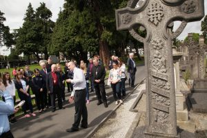 Church of Ireland Archbishop of Armagh Richard Clarke and Roman Catholic Archbishop of Armagh Eamon Martin and pilgrims getting a guided tour of Glasnevin Cemetery by historian Conor Dodd as they set out on the Somme Centenary Pilgrimage. Pic John Mc Elroy.