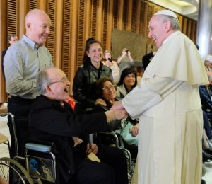 Monsignor Padraig Ó Fiannachta meeting Pope Francis in Rome last November.