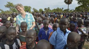 Loreto Sister Orla Treacy laughs as she talks with students in the the Loreto Primary School in Rumbek, South Sudan. Treacy is the school's principal. The school is run by the Institute for the Blessed Virgin Mary--the Loreto Sisters--of Ireland.