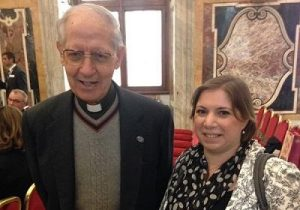 Sarah Teather with Fr Adolfo Nicolás Pachón, former superior general of the Jesuits.