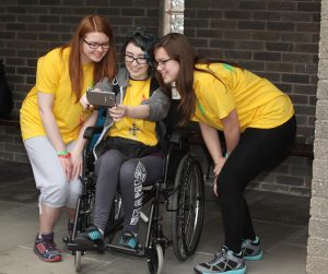 Pic shows Aimee O'Toole, Mariosa Churchard and Jenny Morgan taking a selfie as they depart from Dublin Airport on Monday for World Youth Day in Krakow in Poland. Pic John Mc Elroy.
