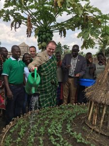 Minister Joe McHugh  at Mothercare Group kitchen garden at a Concern Worldwide project in Karamoja photo by: Miriam Donohoe