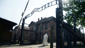 Pic of Pope Francis at Auschwitz courtesy QZ.com